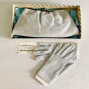 Vintage Silver Metallic Evening Bag & Gloves Set